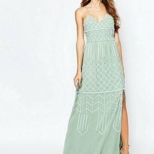 Embellished Sage Green Long Dress